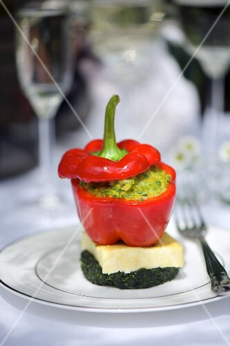 A pepper filled with polenta and spinach