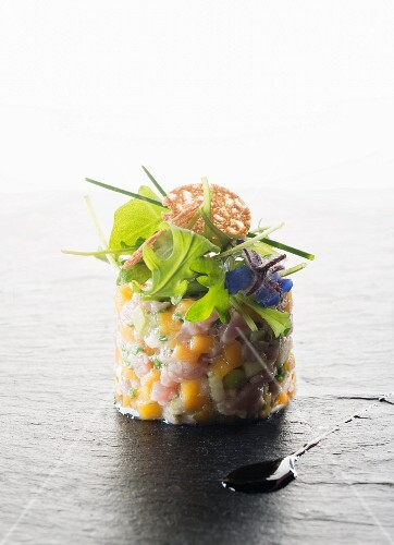 Fish tartar with borage flowers