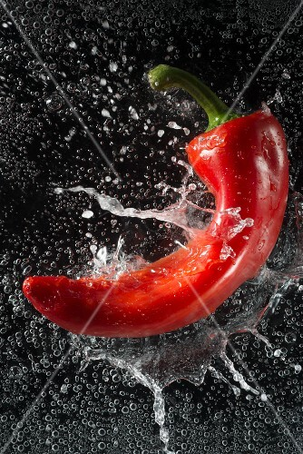 A red pepper falling into water
