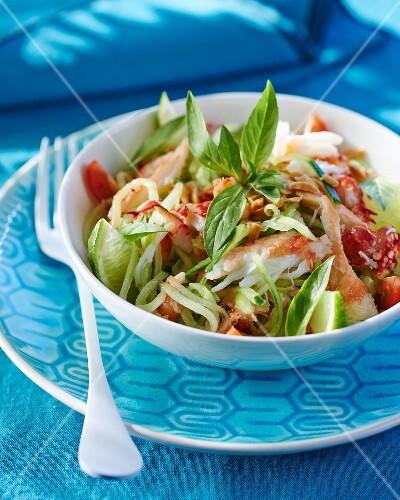Thai crab salad with lime and Thai basil