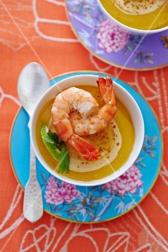 Lentil soup with prawns