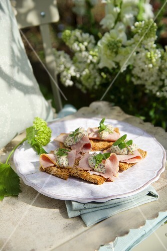 Toast with cold roast pork and mustard sauce