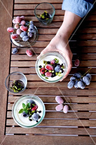 Ajo blanco with grapes and pistachio nuts