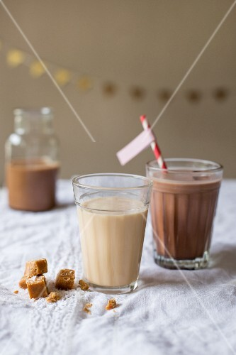 Salted caramel milk and chocolate milk