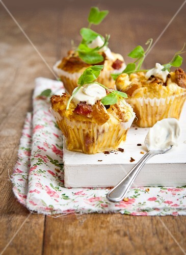 Muffins made with pears, pancetta, creme fraiche and pea shoots