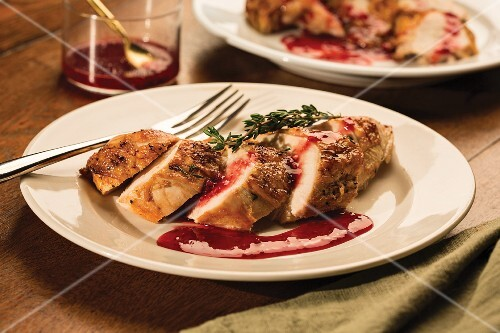 Chicken breast fillets with a balsamic vinegar glaze and raspberry sauce