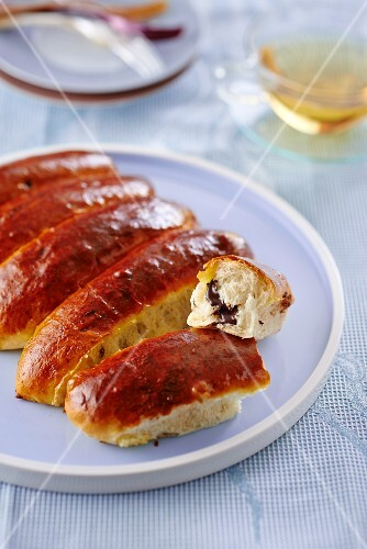 Chocolate-filled brioche on a plate
