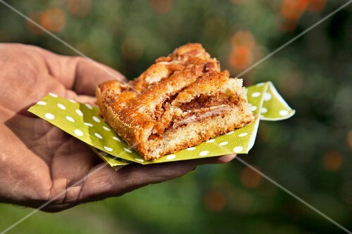 A slice of apple cake with nuts and coconut