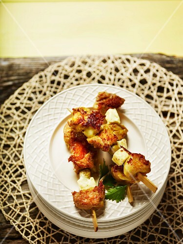 Marinated chicken skewers with olives and Paneer cheese