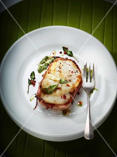Monk fish with bacon and Munster cheese