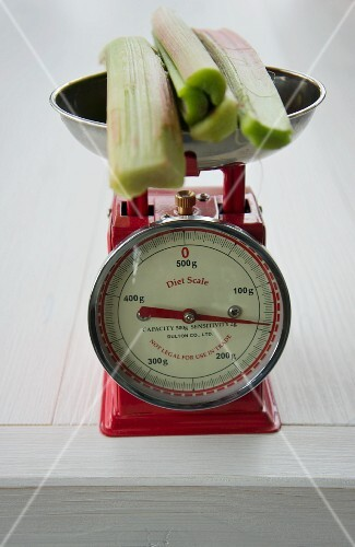 Rhubarb on an old pair of kitchen scales