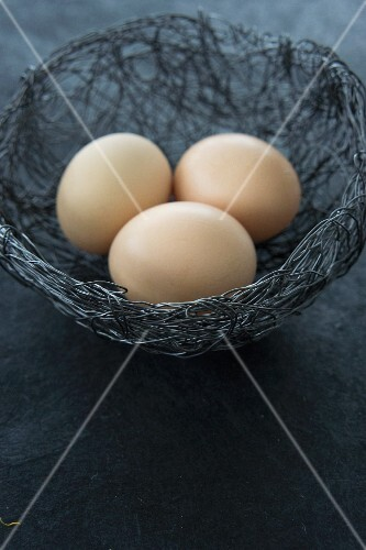 Eggs in a wire Easter nest