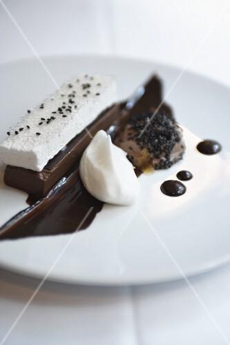 Chocolate dessert with parfait and cream