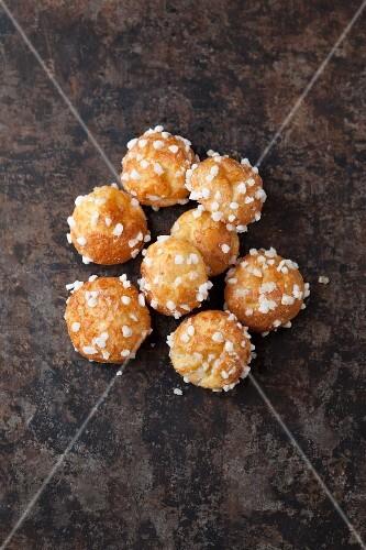 Chouquettes (mini French profiteroles) with sugar nibs