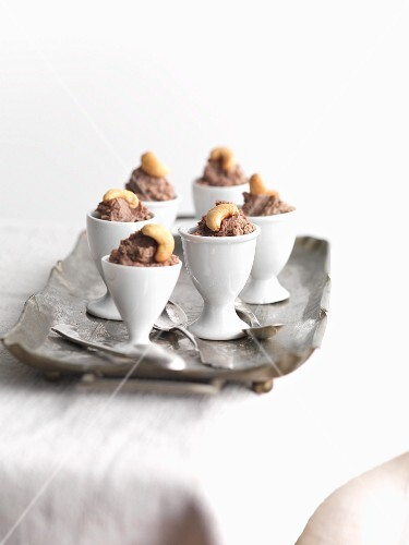 Chopped liver with cashew nuts in egg cups (Jewish appetiser)