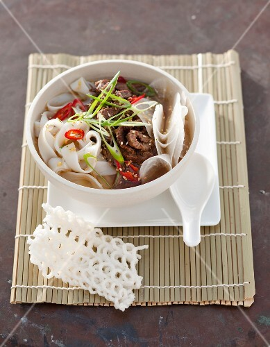 Rice noodle soup with beef and chilli peppers (Korea)