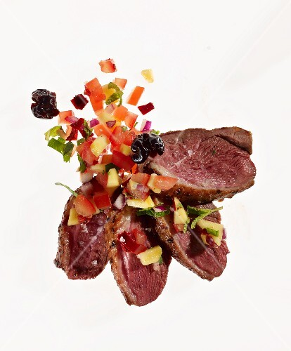 Fried duck with an chilli and mango salsa