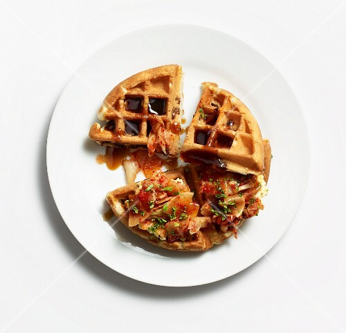 Waffle sandwich with egg salad and grilled beef