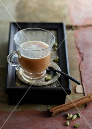 Chai tea in a glass