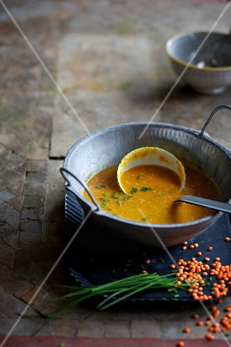 Lentil soup with chives