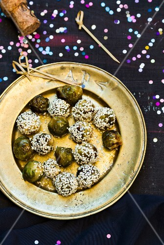 Brussels sprouts with sesame seeds for a New Year's Eve party