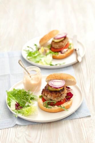 Homemade pork burgers