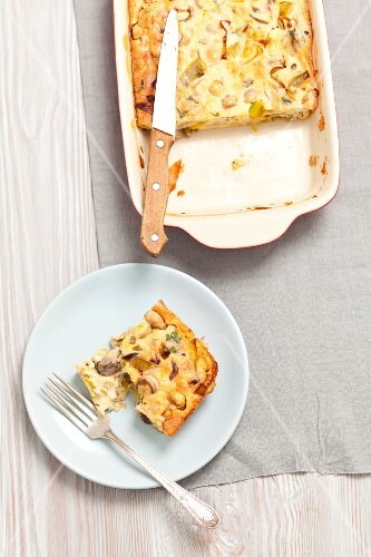 Mushroom and leek bake, sliced