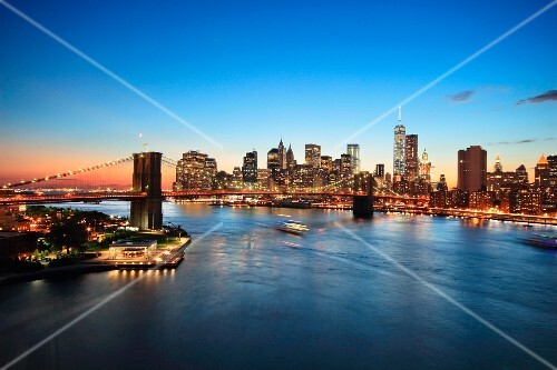 A view of the skyline of Manhattan with the Brooklyn Bridge (New York, USA)
