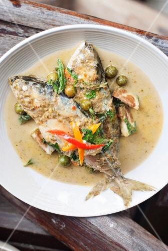 Green curry with Thai mackerel