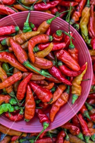 Red chilli peppers at a market (Vientiane, Laos)