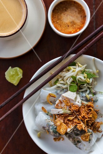 Pork filled noodle rolls with fried shallots and a dip (Vientiane, Laos)