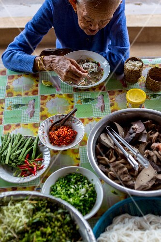 Rice noodle soup with various ingredients (Vientiane, Laos)