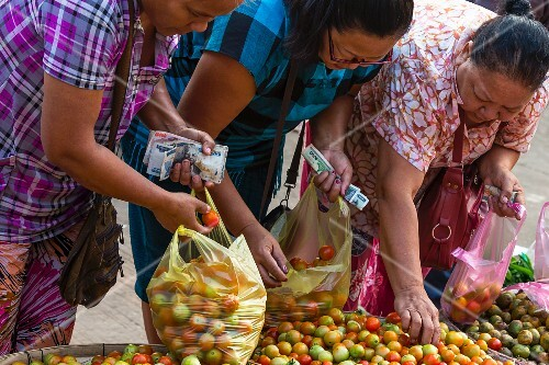 Women buying tomatoes at a market (Vientiane, Laos)