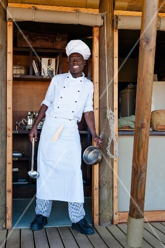 Chef Robert – a member of the Ovambo ethnic group – in the Boulders Safari Camp' complex, Wolwedans, NamibRand Nature Reserve in Namibia, Africa