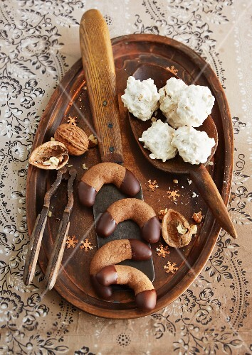 Walnut foam biscuits and nougat crescent biscuits