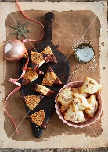 Nut corners and Dreispitz-Kekse (pyramid jam biscuits)