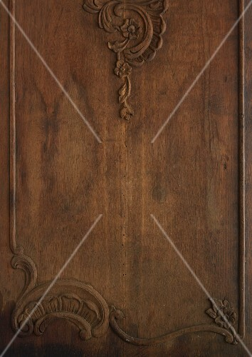 A carved wooden surface