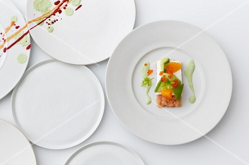 Trout tartar with avocado and sour cream