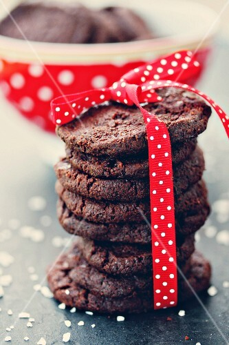 Chocolate biscuits with fleur de sel