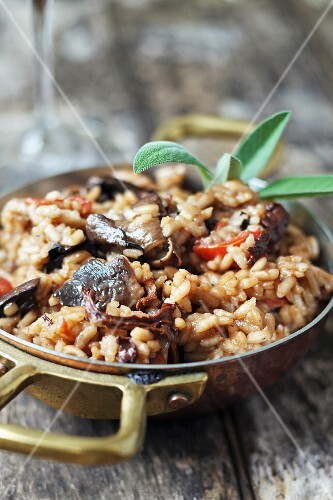 Risotto with mushrooms and sage