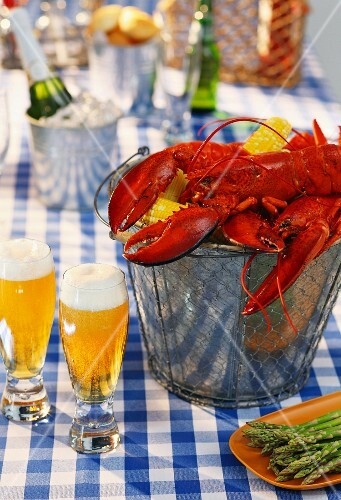 A picnic with lobster and beer