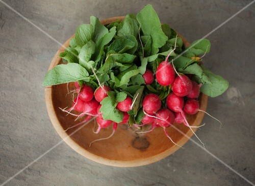 Two bunches of radishes in a wooden bowl