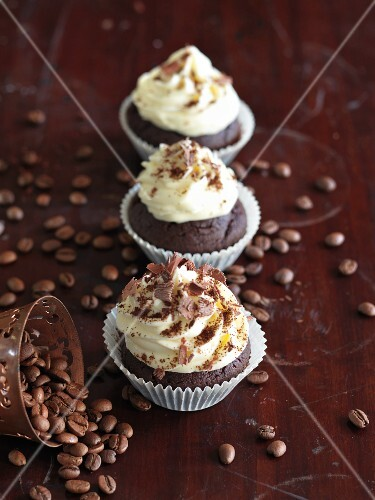 Chocolate and coffee cupcakes decorated with mocha beans