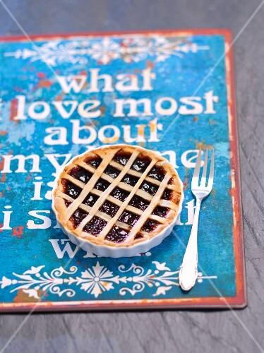 A plum jam tartlet