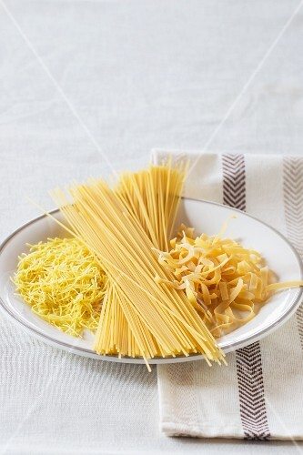 Various types of pasta on a plate