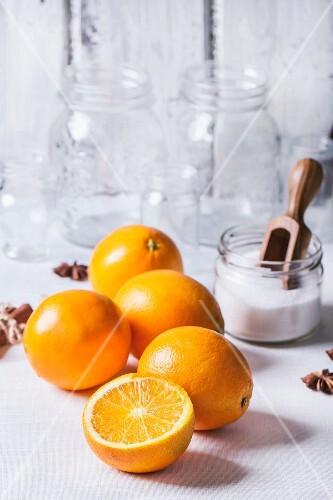 Ingredients for making orange marmalade