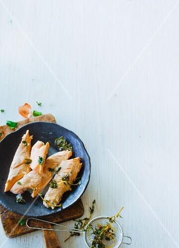 Foil-baked salmon trout