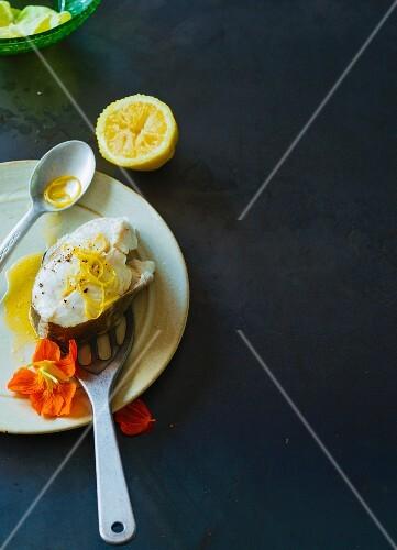 Cod with lemon zest