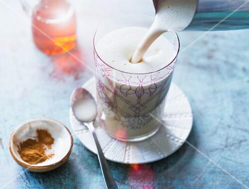 A soya shake with almonds, aloe honey, cinnamon and banana
