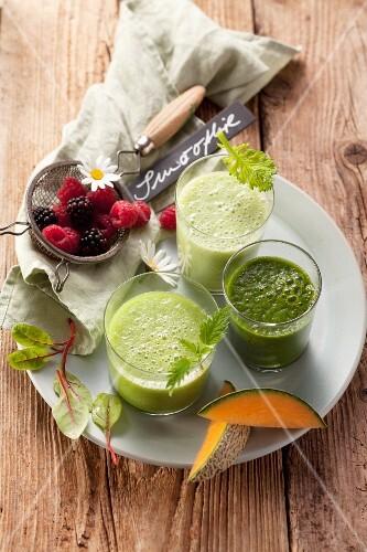 Three green smoothies